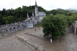 The holy sanctuary at Lourdes was heavily damaged by flooding.  (Photo credit: Bob Edme/AP)