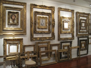 Mr. Salazar's love for intricately carved French frames on display in his gallery (photo credit: Nicholas Merkelson)